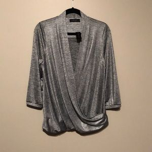 """Metallic silver """"The Limited"""" top"""